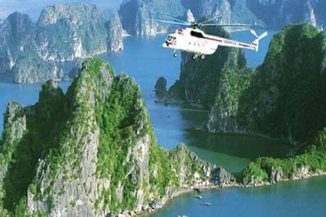 Visit Halong Bay by helicopter