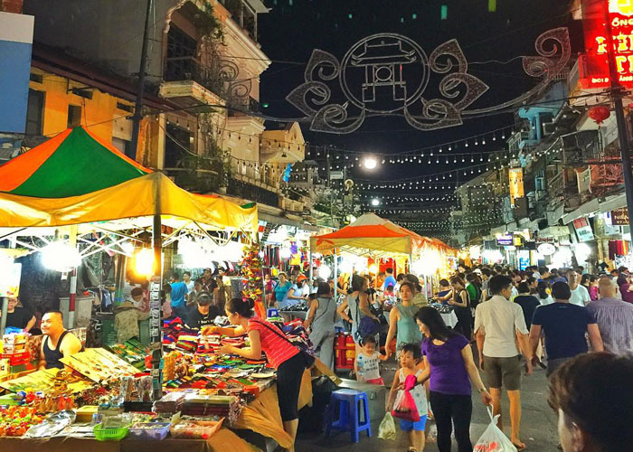 Night market at weekend in Hanoi