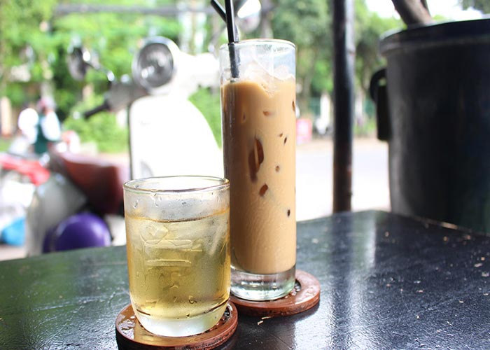 Ca phe sua da (milk coffee) in Saigon