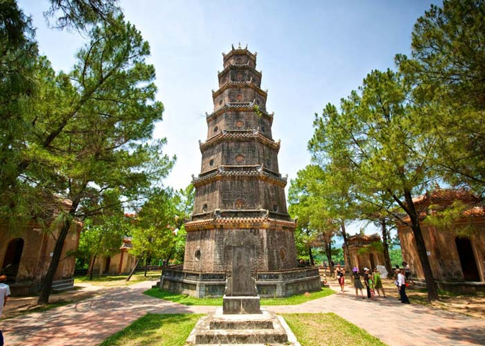 Thien Mu Pagoda on side of Huong river